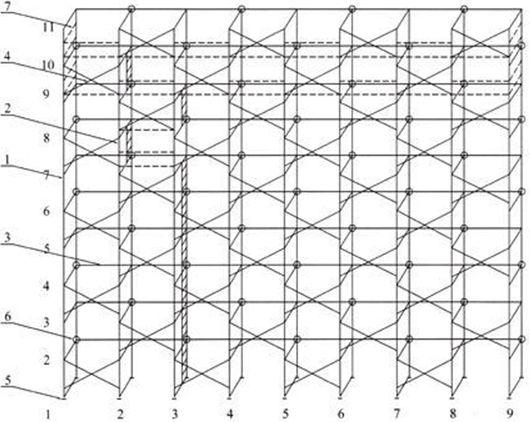 Схема установки лесов ЛPСП-40